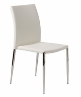 Eurostyle Diana White/Stainless Steel Stacking Chair (set of 4)