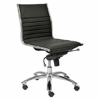 Eurostyle Dirk Black/ChromeLow Back Office Chair without Arms