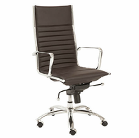 Eurostyle Dirk Brown/Chrome High Back Office Chair