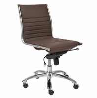 Eurostyle Dirk Brown/ChromeLow Back Office Chair without Arms
