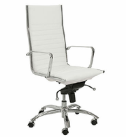 Eurostyle Dirk White/Chrome High Back Office Chair