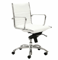 Eurostyle Dirk White/Chrome Low Back Office Chair