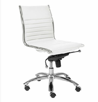 Eurostyle Dirk White/ChromeLow Back Office Chair without Arms