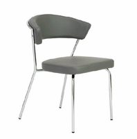 Eurostyle Draco Gray/Chrome Side Chair (Set of 4)