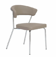 Eurostyle Draco Taupe/Chrome Side Chair (Set of 4)
