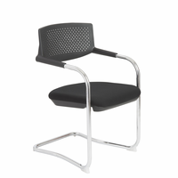 Eurostyle Fauve Black/Chrome Visitor Chair (Set of 4)
