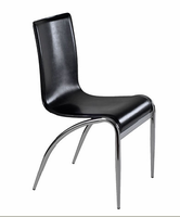 Eurostyle Grace Black/Chrome Leather Chair (Set of 4)
