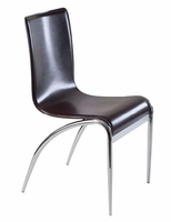 Eurostyle Grace Leather Chair in Brown/Chrome (set of 4)