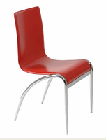 Eurostyle Grace Leather Chair in Red/Chrome (set of 4)