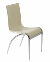 Eurostyle Grace Leather Chair in Tan/Chrome (set of 4)