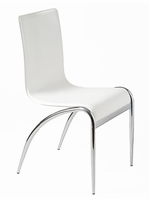Eurostyle Grace Leather Chair in White/Chrome (set of 4)