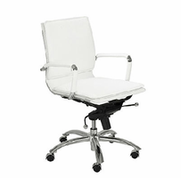 Eurostyle Gunar Pro White/Chrome Low Back Office Chair