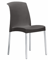 Eurostyle Jenny Anthracite/Aluminum Chair (Set of 6)