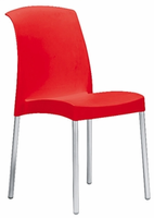 Eurostyle Jenny Red/Aluminum Chair (Set of 6)