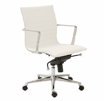 Eurostyle Kyler White/Chrome Low Back Office Chair