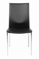 Eurostyle Max Leather Black/Chrome Side Chair (Set of 2 )