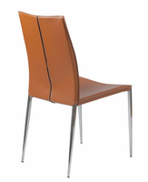 Eurostyle Max Leather Cognac/Chrome Chair (set of 2)