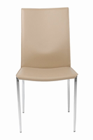 Eurostyle Max Leather Tan/Chrome Side Chair (Set of 2 )