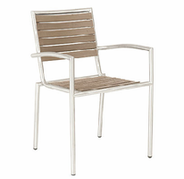 Eurostyle Nathan Taupe Stainless Steel Arm Chair (Set of 4)