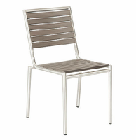 Eurostyle Nathan Taupe Stainless Steel Side Chair (Set of 4)