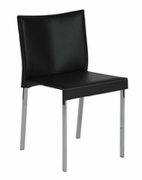 Eurostyle Riley Leather Black/Chrome Chair (set of 2)
