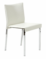 Eurostyle Riley White Regenerated Leather/Chrome Chair (set of 2)