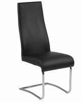 Eurostyle Rooney Black Leatherette/Chrome High Back Side Chair (Set of 2)
