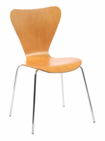 Eurostyle Tendy Natural/Chrome Stack Chair (set of 4)