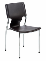 Eurostyle Terry Brown/Chrome Stacking Chair (set of 4)