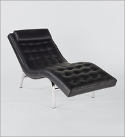 Eurostyle Valencia-1 Black/Chrome Leather Lounge Chair