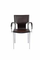 Eurostyle Vinnie Brown Leather/Chrome Arm Chair (Set of 2)
