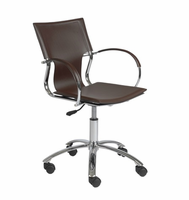Eurostyle Vinnie Brown Leather/Chrome Office Chair