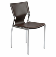 Eurostyle Vinnie Brown Leather/Chrome Side Chair (Set Of 4)