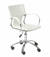 Eurostyle Vinnie White Leather/Chrome Office Chair