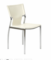 Eurostyle Vinnie White Leather/Chrome Side Chair (Set Of 4)