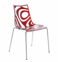 Eurostyle Wave Translucent/Red/Chrome Chair (Set of 4)