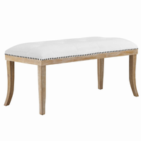 Expression Upholstered Fabric Bench, Ivory [FREE SHIPPING]