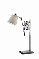 Extendable Table Lamp, Bn/black/l.grey Fabric Shade, A 40w