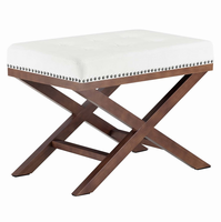 Facet Wood Bench, Ivory [FREE SHIPPING]
