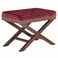 Facet Wood Bench, Maroon [FREE SHIPPING]