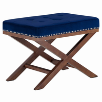Facet Wood Bench, Navy [FREE SHIPPING]