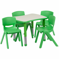 Flash Furniture 21.875''W x 26.625''L Adjustable Rectangular Green Plastic Activity Table Set with 4 School Stack Chairs