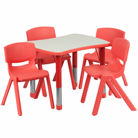 Flash Furniture 21.875''W x 26.625''L Adjustable Rectangular Red Plastic Activity Table Set with 4 School Stack Chairs
