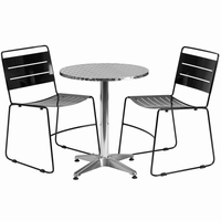 Flash Furniture 23.5'' Round Aluminum Indoor-Outdoor Table with 2 Black Metal Stack Chairs