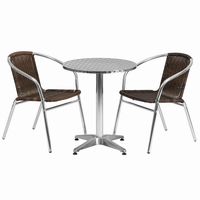 Flash Furniture 23.5'' Round Aluminum Indoor-Outdoor Table with 2 Dark Brown Rattan Chairs