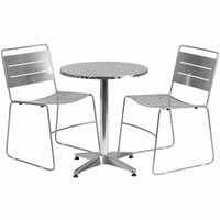 Flash Furniture 23.5'' Round Aluminum Indoor-Outdoor Table with 2 Silver Metal Stack Chairs