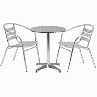 Flash Furniture 23.5'' Round Aluminum Indoor-Outdoor Table with 2 Slat Back Chairs