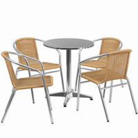 Flash Furniture 23.5'' Round Aluminum Indoor-Outdoor Table with 4 Beige Rattan Chairs