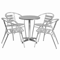 Flash Furniture 23.5'' Round Aluminum Indoor-Outdoor Table with 4 Slat Back Chairs