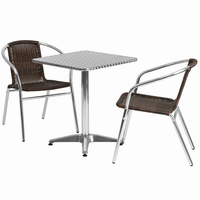 Flash Furniture 23.5'' Square Aluminum Indoor-Outdoor Table with 2 Dark Brown Rattan Chairs